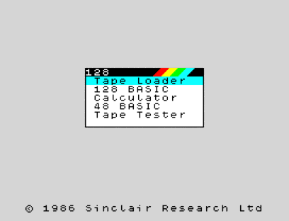 new 128menu - ZX Spectrum 30 years old